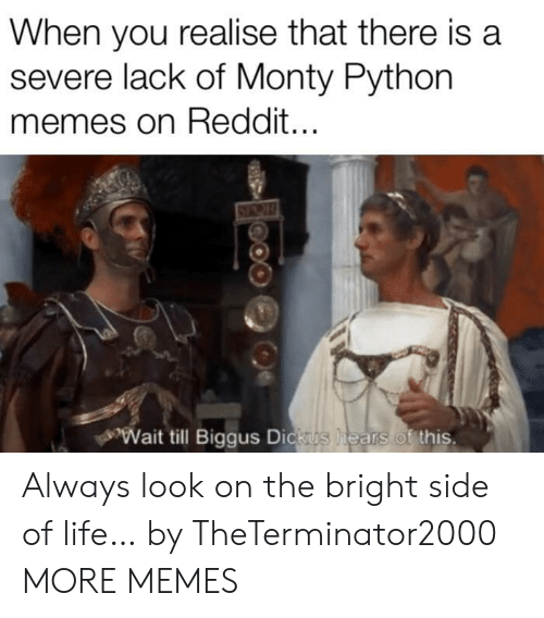 Wait Till: When you realise that there is a  severe lack of Monty Python  memes on Reddit...  Wait till Biggus Dickus  hears of this. Always look on the bright side of life… by TheTerminator2000 MORE MEMES