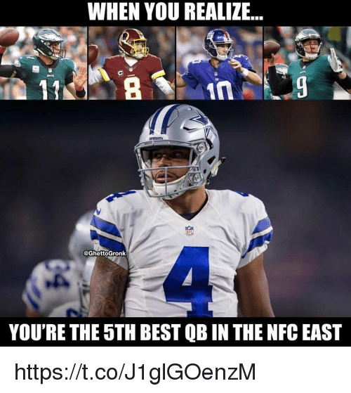 Memes, Best, and 🤖: WHEN YOU REALIZE...  COwpOT  eGhettoGronk  YOU'RE THE 5TH BEST QB IN THE NFC EAST https://t.co/J1glGOenzM