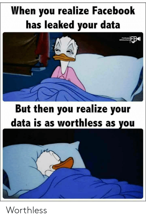 Leaked: When you realize Facebook  has leaked your data  FILMiyapa  BROductions  But then you realize your  data is as worthless as you Worthless