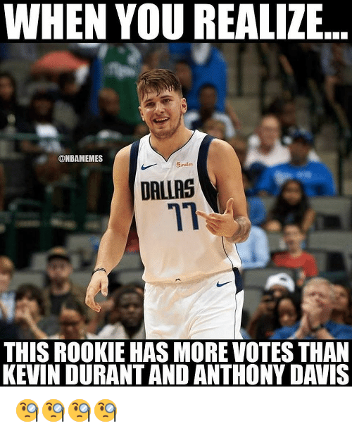 davis: WHEN YOU REALIZE  ONBAMEMES  5miles  DALLAS  71  THIS ROOKIE HAS MORE VOTES THAN  KEVIN DURANT AND ANTHONY DAVIS 🧐🧐🧐🧐