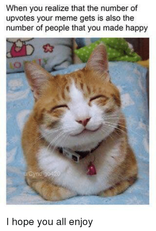 Meme, Happy, and Hope: When you realize that the number of  upvotes your meme gets is also the  number of people that you made happy I hope you all enjoy
