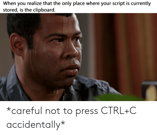 You, Script, and Press: When you realize that the only place where your script is currently  stored, is the clipboard. *careful not to press CTRL+C accidentally*