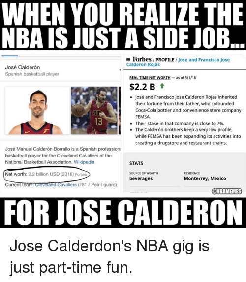 Basketball, Cleveland Cavaliers, and Coca-Cola: WHEN YOU REALIZE THE  NBA IS JUST A SIDE JOB  E Forbes/ PROFILE /Jose and Francisco Jose  Calderon Rojas  José Calderón  Spanish basketball player  REALTİMENETWORTH-as of 5/1/18  $2.2 B t  José and Francisco Jose Calderon Rojas inherited  their fortune from their father, who cofounded  Coca-Cola bottler and convenience store company  FEMSA.  Their stake in that company is close to 7%.  The Calderón brothers keep a very low profile,  while FEMSA has been expanding its activities into  creating a drugstore and restaurant chains.  13  .  José Manuel Calderón Borrallo is a Spanish professiona  basketball player for the Cleveland Cavaliers of the  National Basketball Association. Wikipedia  STATS  SOURCE OF WEALTH  beverages  RESIDENCE  Net worth: 2.2 billion USD (2018) Forbes  CurrentTeam ceverand Cavaliers (#81 / Point guard)  Monterrey, Mexico  @NBAMEMES  FOR JOSE CALDERON Jose Calderdon's NBA gig is just part-time fun.