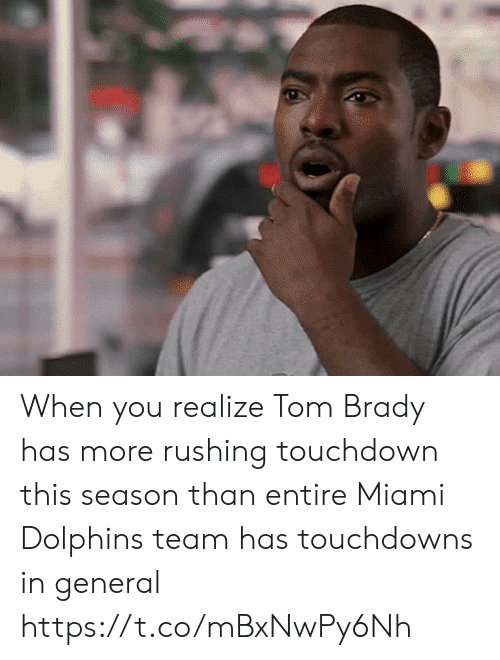 Dolphins: When you realize Tom Brady has more rushing touchdown this season than entire Miami Dolphins team has touchdowns in general https://t.co/mBxNwPy6Nh