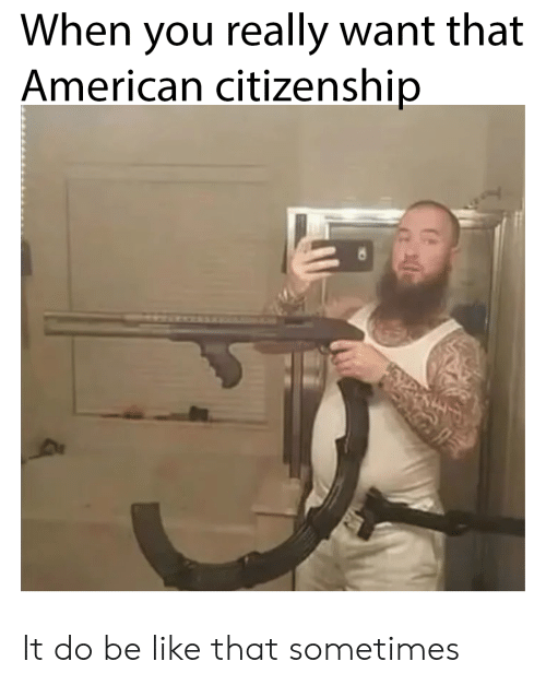Be Like, American, and You: When you really want that  American citizenship It do be like that sometimes