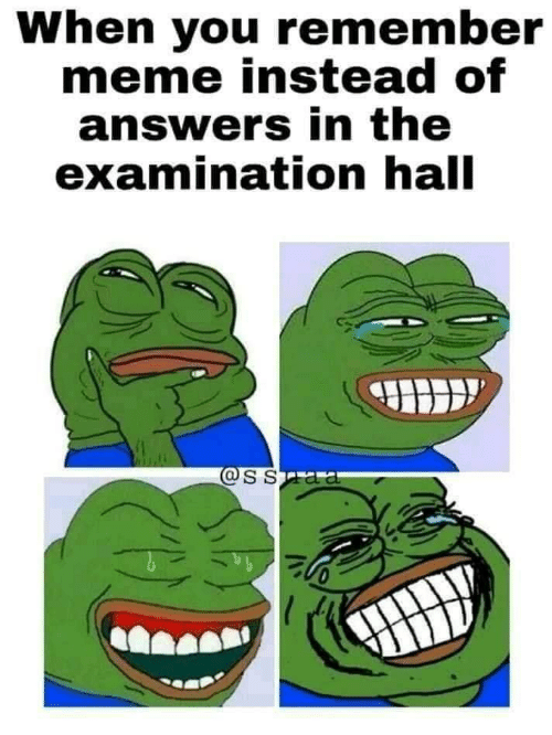 answers: When you remember  meme instead of  answers in the  examination hall  @SSaa