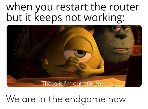 endgame: when you restart the router  but it keeps not working:  That's it l'm out of ideas We are in the endgame now