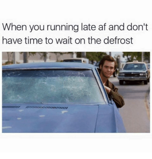 Memes, 🤖, and Dont-Have-Time: When you running late af and don't  have time to wait on the defrost