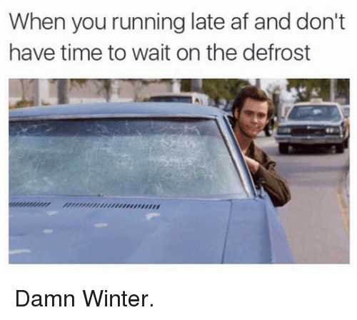 Dank, 🤖, and Afs: When you running late af and don't  have time to wait on the defrost Damn Winter.