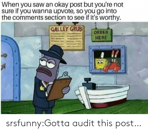 Saw, Tumblr, and Blog: When you saw an okay post but you're not  sure if you wanna upvote, so you go into  the comments section to see if it's worthy.  GALLEY GRUB  HERE srsfunny:Gotta audit this post…