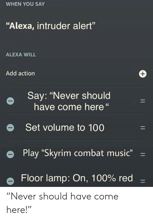 "Anaconda, Music, and Skyrim: WHEN YOU SAY  ""Alexa, intruder alert""  ALEXA WILL  Add action  Say: ""Never should  have come here""  e Set volume to 100  e Play ""Skyrim combat music""-  e Floor lamp: On, 100% red- ""Never should have come here!"""