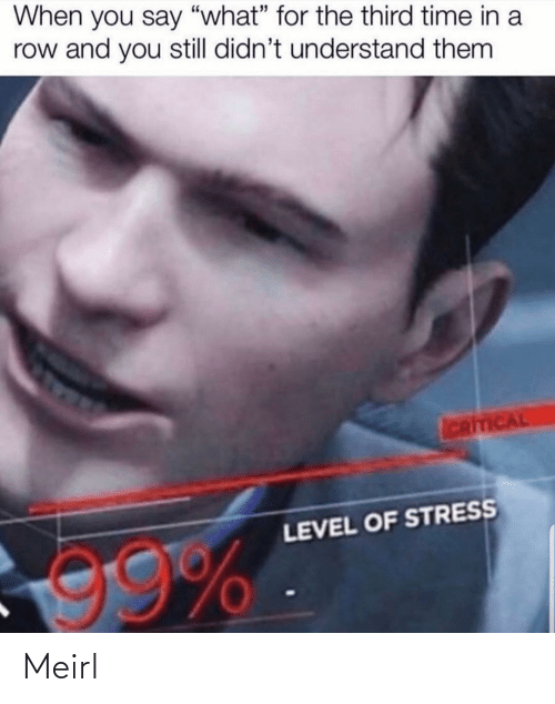 "stress: When you say ""what"" for the third time in a  row and you still didn't understand them  ICRITICAL  LEVEL OF STRESS  99% Meirl"