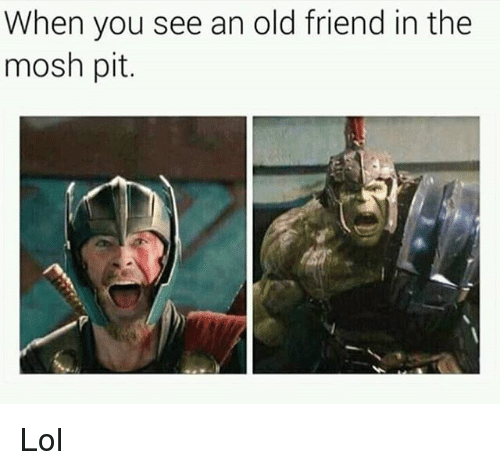 Moshs: When you see an old friend in the  mosh pit. Lol