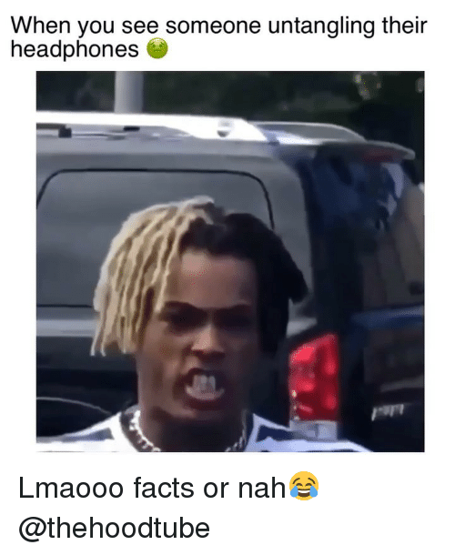 Facts, Memes, and Headphones: When you see someone untangling their  headphones Lmaooo facts or nah😂 @thehoodtube