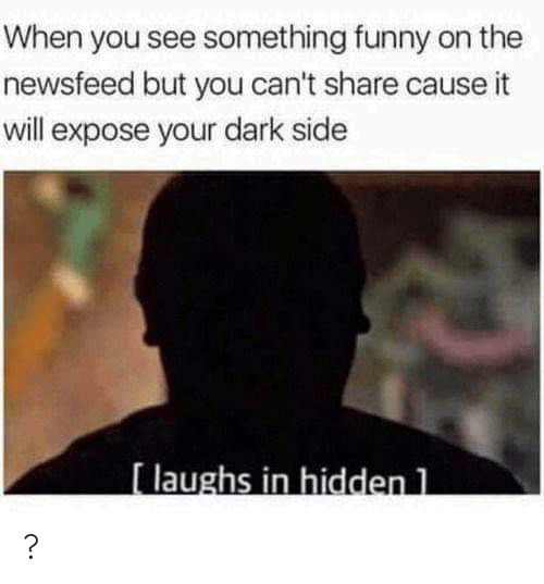 Funny, Hidden, and Dark: When you see something funny on the  newsfeed but you can't share cause it  will expose your dark side  [laughs in hidden 1 ?