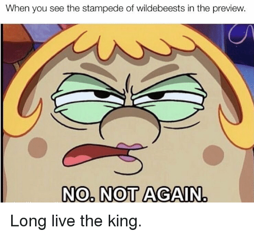 Live, Long Live, and King: When you see the stampede of wildebeests in the preview  NO NOT AGAIN Long live the king.