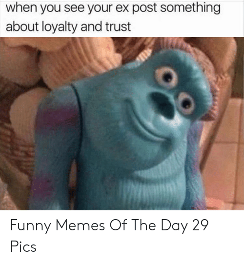 Funny, Memes, and Day: when you see your ex post something  about loyalty and trust Funny Memes Of The Day 29 Pics