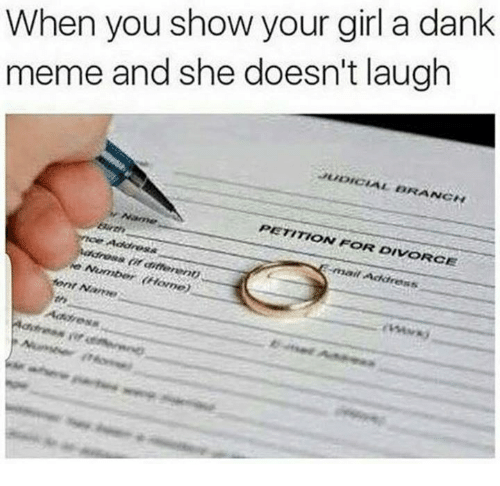 Dank Memees: When you show your girl a dank  meme and she doesn't laugh  UDICIAL BRANC  ANGN  PETITION FOR DIVORCE  mail Address  rin  rep