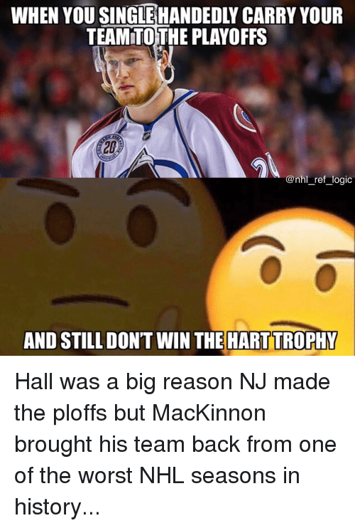 Logic, Memes, and National Hockey League (NHL): WHEN YOU SINGLEHANDEDLY CARRY YOUR  TEAMTOTHE PLAYOFFS  20  @nhl_ref logic  AND STILL DON'T WIN THE HART TROPHY Hall was a big reason NJ made the ploffs but MacKinnon brought his team back from one of the worst NHL seasons in history...