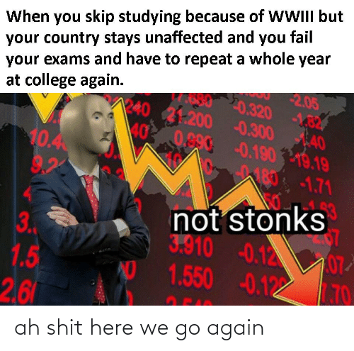 6 3: When you skip studying because of WWIII but  your country stays unaffected and you fail  your exams and have to repeat a whole year  2.05  20.320 -182  -0.300 40  0.90-0.19019.19  at college again.  1240  31-200  40  10.4  9.2  180-1.71  not stonks  3.  1.5  2,6  3.910  -0.12 0  1.550 -0.122  AD  7.70 ah shit here we go again