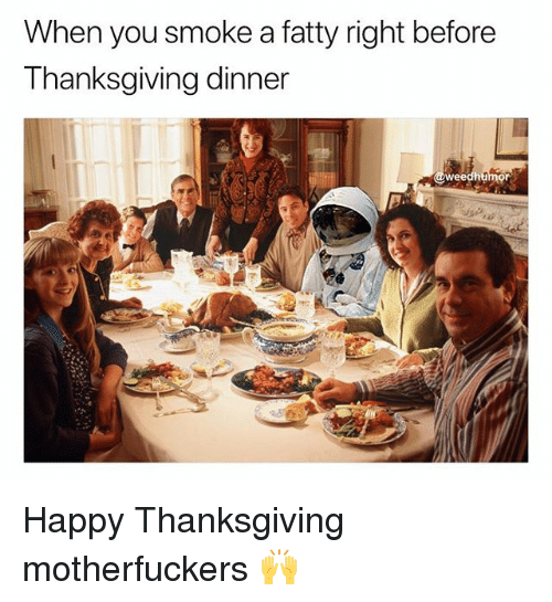 Thanksgiving, Weed, and Happy: When you smoke a fatty right before  Thanksgiving dinner  @we Happy Thanksgiving motherfuckers 🙌