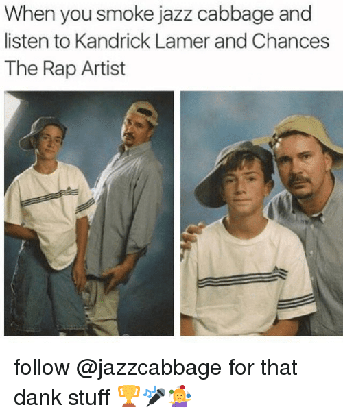 Dank, Rap, and Stuff: When you smoke jazz cabbage and  listen to Kandrick Lamer and Chances  The Rap Artist follow @jazzcabbage for that dank stuff 🏆🎤🤹♀️