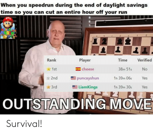 Daylight Savings Time, Run, and Daylight Savings: When you speedrun during the end of daylight savings  time so you can cut an entire hour off your run  Verified  Rank  Player  Time  cheese  1st  38m 51s  No  2nd  puncayshun  1h 39m 06s  Yes  3rd  LiamKings  1h 39m 30s  Yes  OUTSTANDING MOVE Survival!
