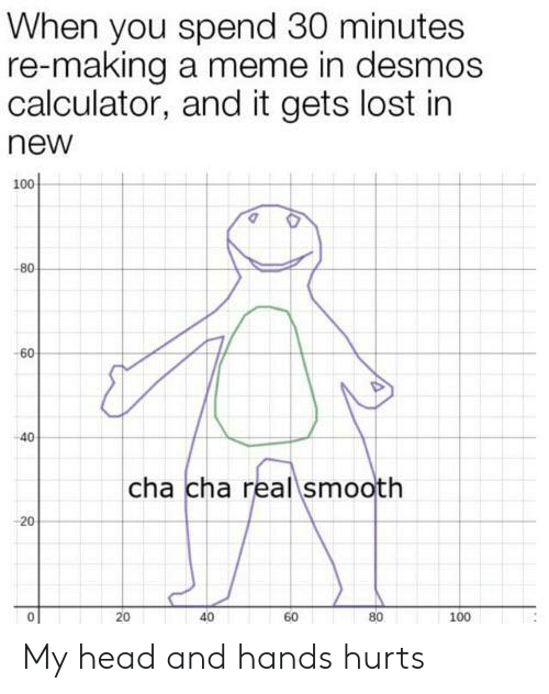 cha cha: When you spend 30 minutes  re-making a meme in desmos  calculator, and it gets lost in  new  100  -80  -60  40  cha cha real smooth  20  40  80  60  100  20 My head and hands hurts