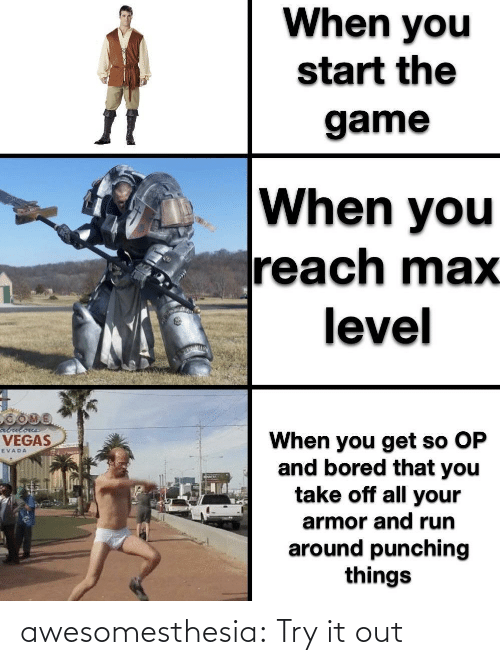 bored: When you  start the  game  When you  reach max  level  abulous  When you get so OP  and bored that you  take off all your  VEGAS  EVADA  armor and run  around punching  things awesomesthesia:  Try it out