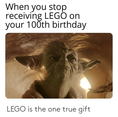 Birthday: When you stop  receiving LEGÓ on  your 100th birthday ‏‏‎ LEGO is the one true gift