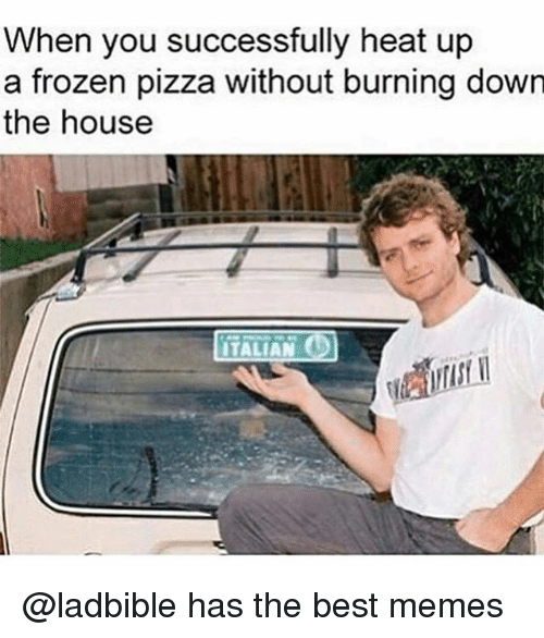 Frozen, Memes, and Pizza: When you successfully heat up  a frozen pizza without burning down  the house  ITALIAN @ladbible has the best memes