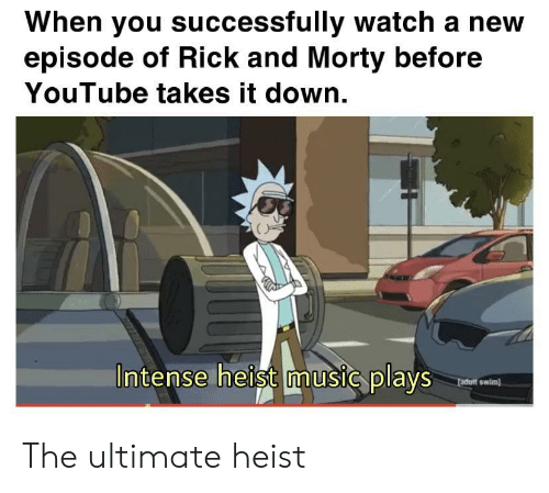 Ultimate: When you successfully watch a new  episode of Rick and Morty before  YouTube takes it down.  Intense heist music plays  fadult swim) The ultimate heist
