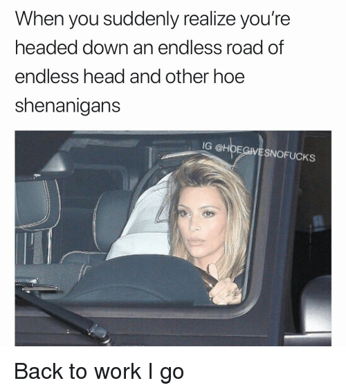 Head, Hoe, and Shenanigans: When you suddenly realize you're  headed down an endless road of  endless head and other hoe  shenanigans  IG @HOEGVESNOFUCKS Back to work I go