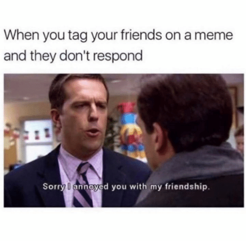 Tag Your Friends: When you tag your friends on a meme  and they don't respond  Sorry annoyed you with my friendship.