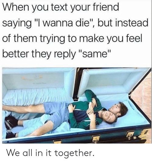 "Dank, Text, and 🤖: When you text your friend  saying ""I wanna die"", but instead  of them trying to make you feel  better they reply ""same"" We all in it together."