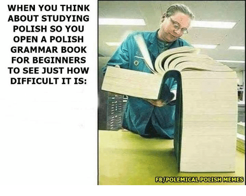 Polish Memes: WHEN YOU THINK  ABOUT STUDYING  POLISH SO YOU  OPEN A POLISH  GRAMMAR BOOK  FOR BEGINNERS  TO SEE JUST HOW  DIFFICULT IT IS:  FBPOLEMICAL POLISH MEMES