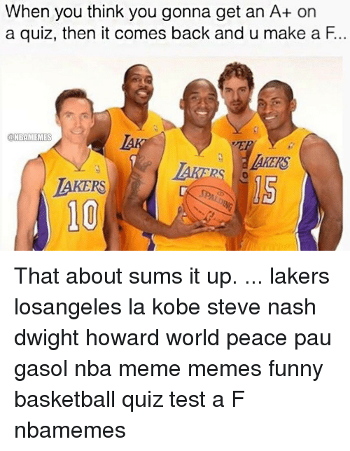 Dwight Howard, Memes, and Kobe: When you think you gonna get an A+ on  a quiz, then it comes back and u make a F.  @NBAMEMES  BAKERS That about sums it up. ... lakers losangeles la kobe steve nash dwight howard world peace pau gasol nba meme memes funny basketball quiz test a F nbamemes