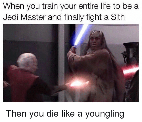 final fight: When you train your entire life to be a  Jedi Master and finally fight a Sith Then you die like a youngling