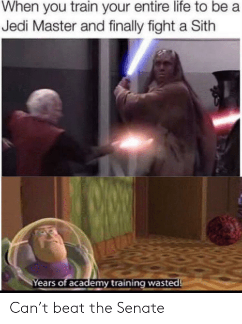 Jedi, Life, and Sith: When you train your entire life to be a  Jedi Master and finally fight a Sith  Years of academy training wasted Can't beat the Senate