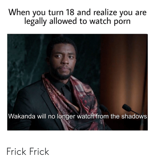 Frick, Porn, and Watch: When you turn 18 and realize you  legally allowed to watch porn  Wakanda will no longer watch from the shadows Frick Frick