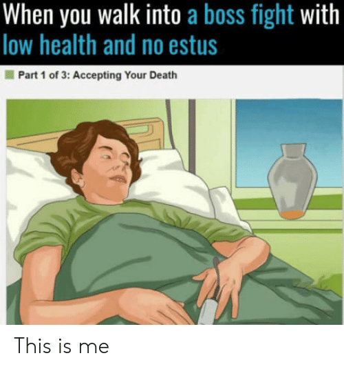 Death, Fight, and Boss: When you walk into a boss fight with  low health and no estus  Part 1 of 3: Accepting Your Death This is me