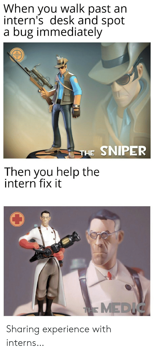 Desk, Help, and Experience: When you walk past an  intern's desk and spot  a bug immediately  THE SNIPER  Then you help the  intern fix it  THMEDIC Sharing experience with interns…