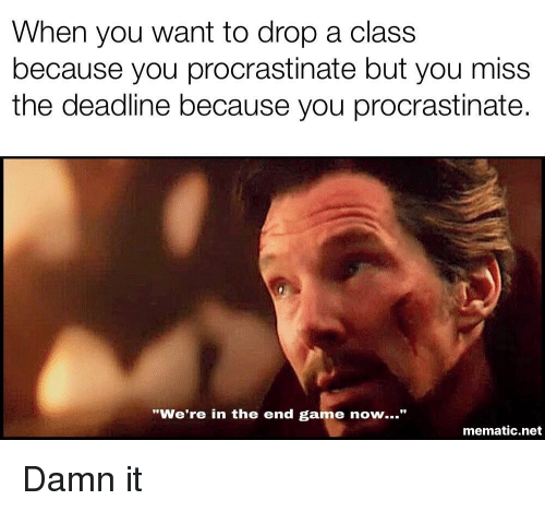 "Game, Net, and Class: When you want to drop a class  because you procrastinate but you miss  the deadline because you procrastinate.  ""We're in the end game now...""  mematic.net Damn it"