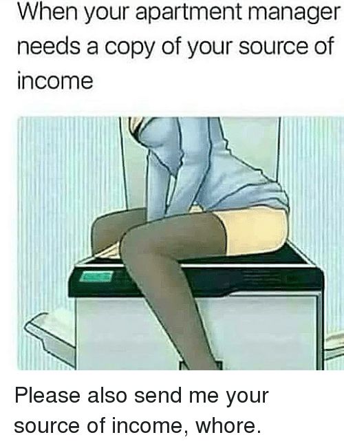 Memes, 🤖, and Source: When your apartment manager  needs a copy of your source of  income Please also send me your source of income, whore.