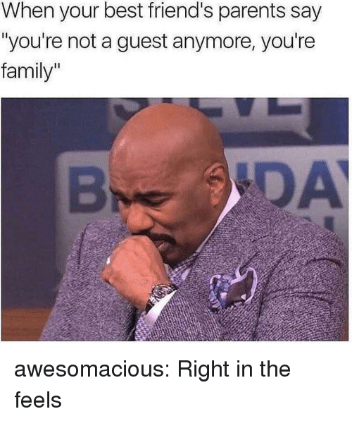 """Family, Friends, and Parents: When your best friend's parents say  """"you're not a guest anymore, you're  family""""  DA awesomacious:  Right in the feels"""