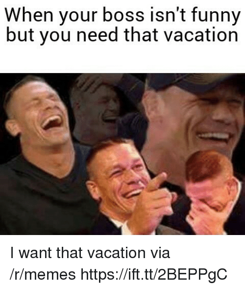 Funny, Memes, and Vacation: When your boss isn't funny  but you need that vacation I want that vacation via /r/memes https://ift.tt/2BEPPgC