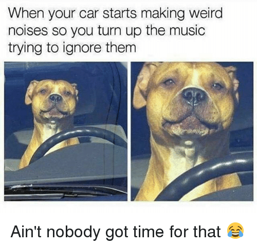 Aint Nobody Got: When your car starts making weird  noises so you turn up the music  trying to ignore therm Ain't nobody got time for that 😂