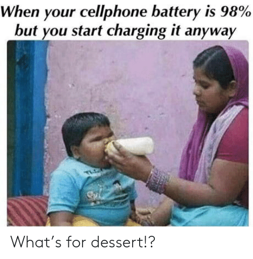 battery: When your cellphone battery is 98%  but you start charging it anyway  TLO What's for dessert!?
