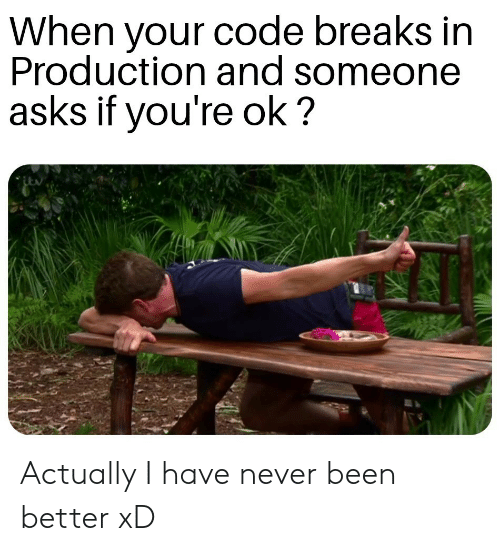 Never, Asks, and Been: When your code breaks in  Production and someone  asks if you're ok? Actually I have never been better xD