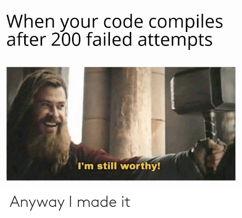 When Your: When your code compiles  after 200 failed attempts  I'm still worthy! Anyway I made it